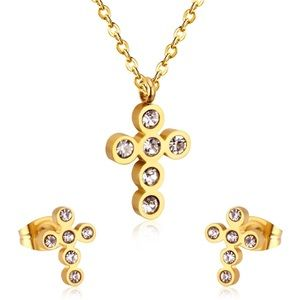 ✨✨Austrian Crystal  Gold Cross Set✨✨